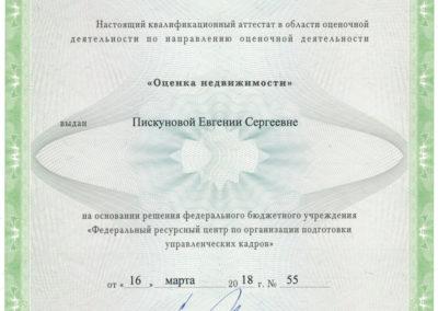 Аттестат Недвижимое имущество Пискунова